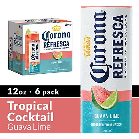 Corona Refresca Spiked Tropical Cocktail Guava Lime Cans 4.5% ABV - 6-12 Fl. Oz.