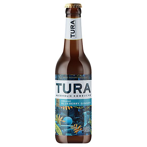 Tura Kombucha Blueberry Ginger In Bottles - 6-12 Fl. Oz.