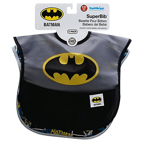 Bumkins 2 Pack Superbib Baby Bib Dc Comics Batman - 2 Count