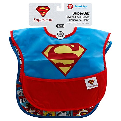 Bumkins 2 Pack Superbib Baby Bib Dc Comics Superman - 2 Count