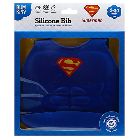 Bumkins Silicone Bib Dc Comics Superman - Each