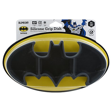 Bumkins Silicone Toddler Grip Dish Dc Comics Batman - Each