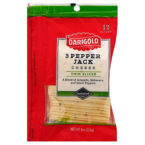 Darigold Cheese Thin Sliced 3 Pepper Jack 12 Count - 8 Oz