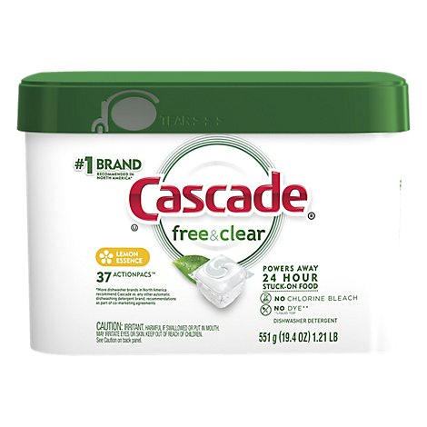 Cascade Free & Clear Dishwasher Detergent ActionPacs Lemon Essence - 37 Count