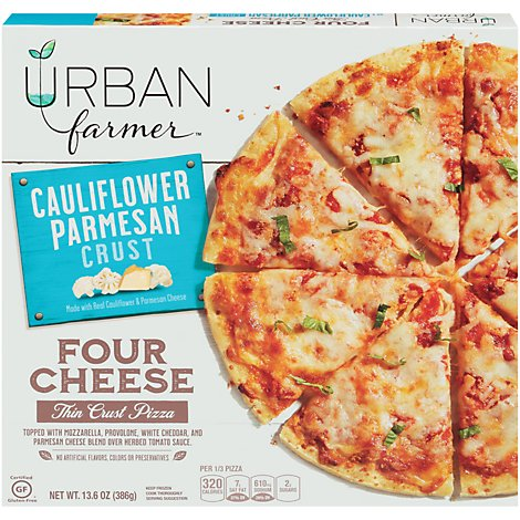 Urban Farmer Pizza Four Cheese Cauliflower Parmesan Crust Frozen - 13.6 Oz