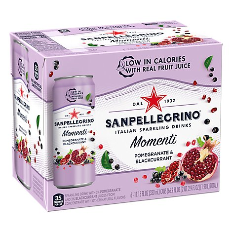 Sanpellegrino Sparkling Drinks Italian Pomegranate & Blackcurrant - 6-11.15 Fl. Oz.