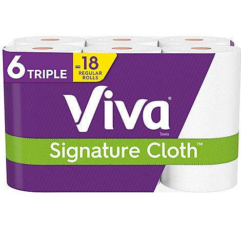 Viva Signature Cloth Towels Huge Roll Choose A Sheet 1 Ply White - 6 Roll