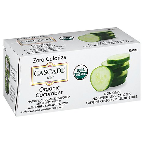 Cascade Ice Organic Cucumber 8pk Can - 96 Fl. Oz.