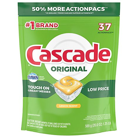 Cascade Dishwasher Detergent ActionPacs Lemon Scent - 37 Count
