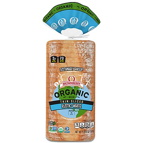 Brownberry Organic Bread Rustic White Thin Sliced - 20 Oz