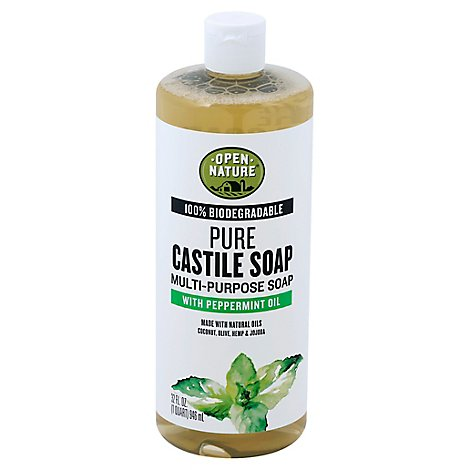 Open Nature Soap Pure Castille Multi Purpose With Peppermint Oil - 32 Fl. Oz.