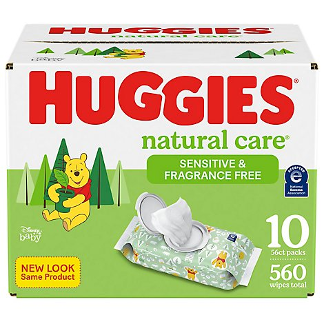 Huggies Natural Care Wipes For Baby Sensitive Fragrance Free 10 Flip Top Pack - 560 Count
