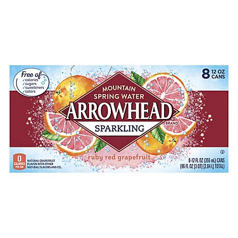 Arrowhead Mountain Spring Water Sparkling Ruby Red Grapefruit - 8-12 Fl. Oz.