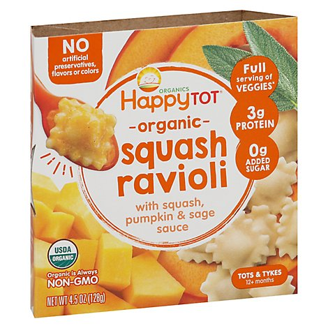 Happy Tot Organics Love My Veggies Bowl Squash Ravioli - 4.5 Oz