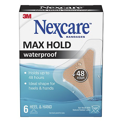 Nexcare Max-Hold Heel/Hand Waterproof Bandages 1.75 In X 2.81 - 6 Count