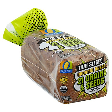 O Organics Bread 21 Grains & Seeds Thin Slcd - 20.5 Oz