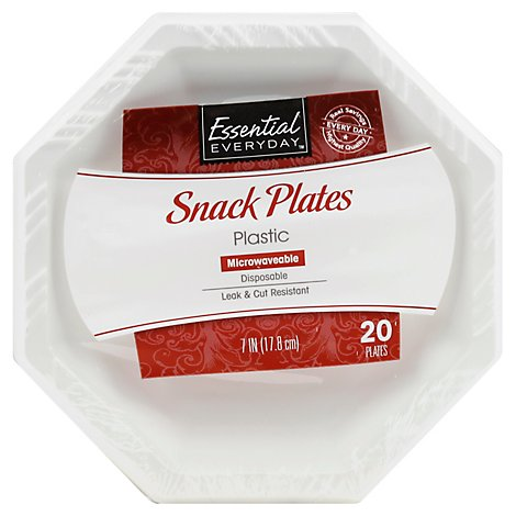 Esntl Snck Plate Wht Oct 7in - 20 Count
