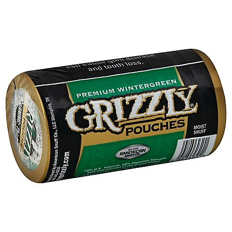 Grizzly Pouches Tobacco Moist Snuff Wintergreen 5 Count - 4.2 Oz