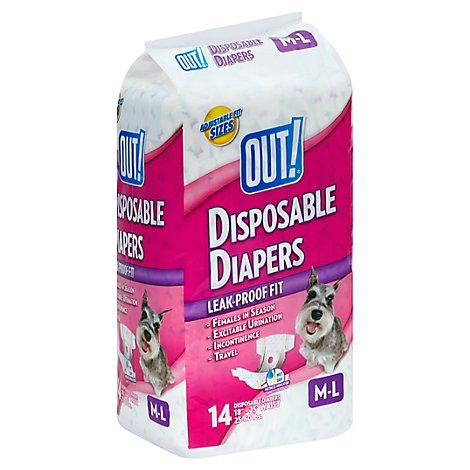 Out Disposable Fashion Diapers MD/Lg - 14 Count