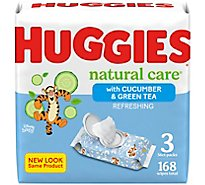 Huggies Natural Care Wipes For Baby Refreshing Clean Scent 3 Flip Top Pack - 168 Count