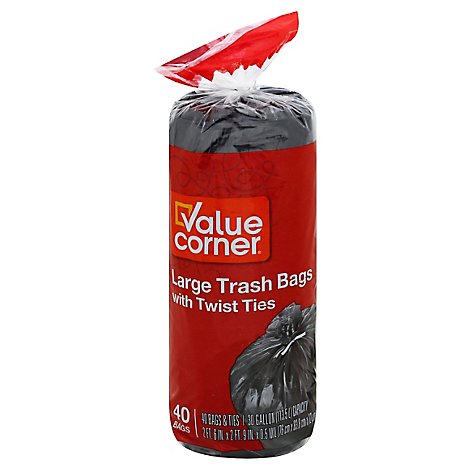 Value Corner Trash Bags 30gal - 40 Count
