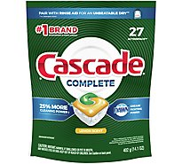 Cascade Complete Dishwasher Detergent ActionPacs Lemon Scent - 27 Count