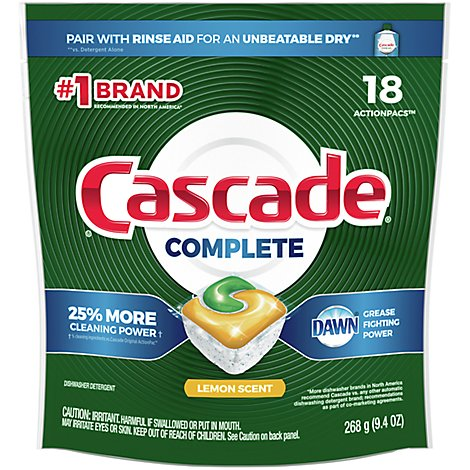 Cascade Complete Dishwasher Detergent ActionPacs Lemon Scent - 18 Count