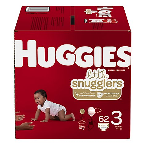 Huggies Little Snugglers Diapers Size 3 Big - 62 Count