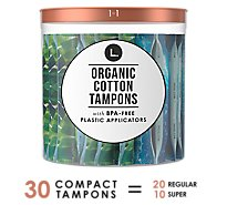 L. Organic Cotton Mixed Tampons Super & Regular - 30 Count