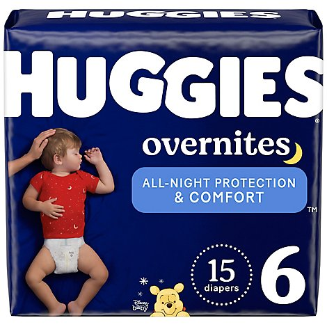 Huggies Overnites Baby Diapers Nighttime Size 6 - 15 Count