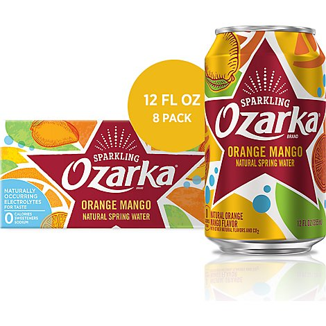 Ozarka Natural Spring Water Sparkling Orange Mango - 8-12 Fl. Oz.