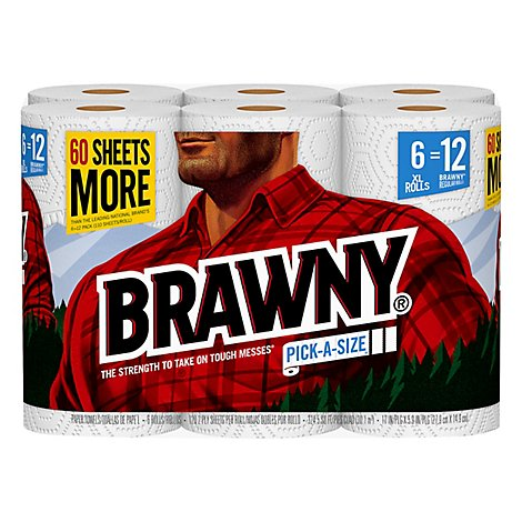 Brawny Paper Towels Pick A Size XL Roll White - 6 Roll