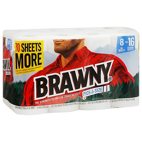 Brawny Paper Towels Pick A Size XL Roll White - 8 Roll