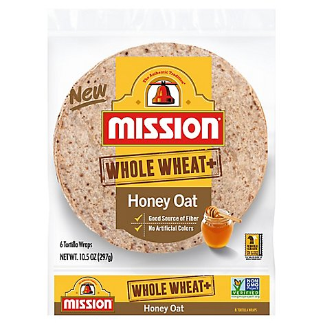 Mission Foods Whole Wheat Honey Oat - 6 Count
