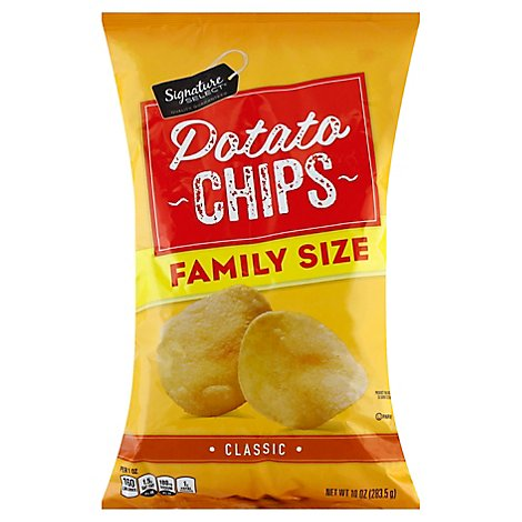 Signature Select Chips Potato Classic Family Size - 10 Oz