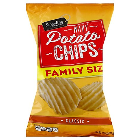 Signature Select Chips Potato Wavy Classic Famly Sz - 10 Oz