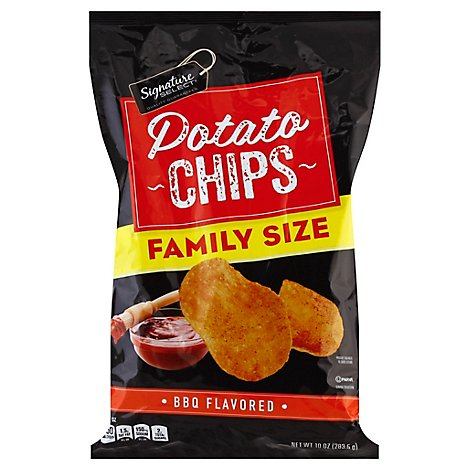 Signature Select Chips Potato Bbq Flvrd Family Size - 10 Oz
