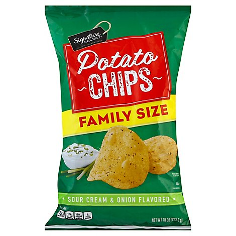 Signature SELECT Chips Potato Sour Cream And Onion Family Size - 10 Oz