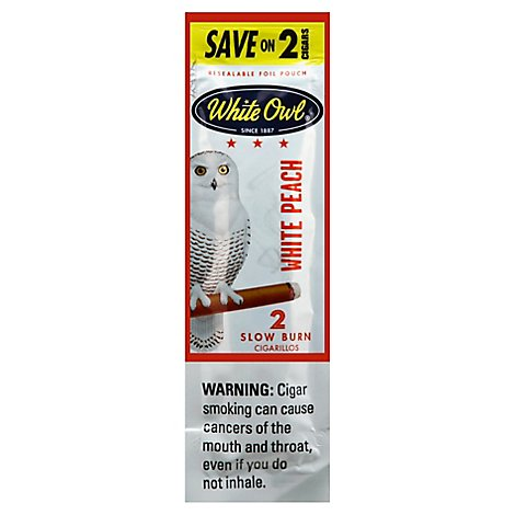 White Owl Cigarillos White Peach - 2 Count