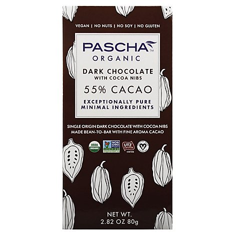 Pascha Choc Bar Dark Nibs Org - 2.82 Oz