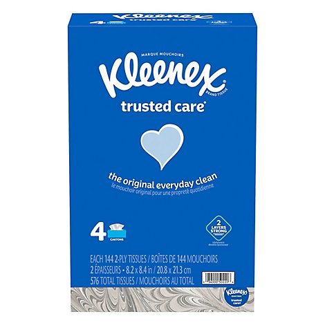 Kleenex Trusted Care Everyday Facial Tissue Flat Box - 576 Count