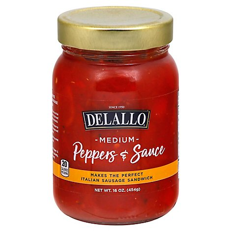 Delallo Peppers & Sauce Medium - 16 Oz