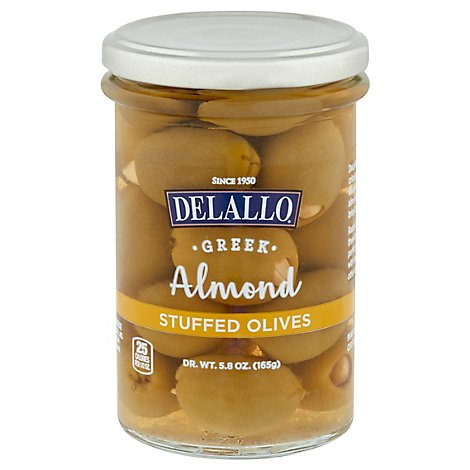 Delallo Olives Almond Stuffed - 5.82 Oz