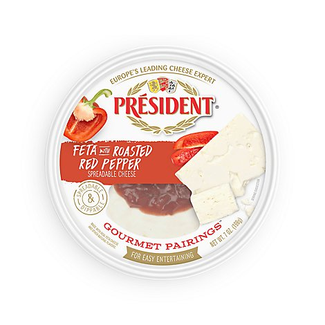 President Feta Roasted Pepper - 7 Oz