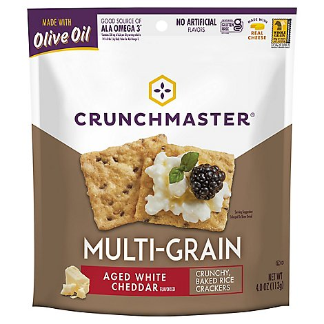 Crunchmaster Crackers Multi Grain Aged White Cheddar - 4 Oz