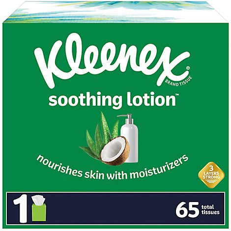 Kleenex Soothing Lotion Facial Tissues Cube Box - 65 Count