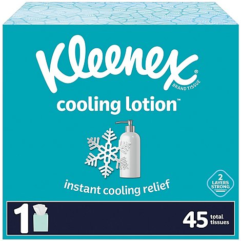 Kleenex Cooling Lotion Facial Tissue Cube Box - 45 Count