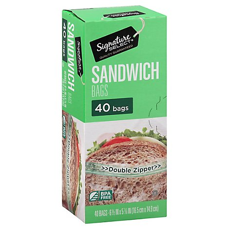 Signature SELECT Bags Sandwich Click & Lock Double Zipper - 40 Count