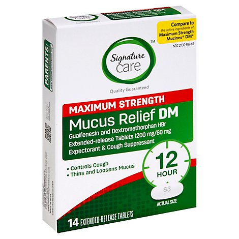 Signature Care Mucus Relief DM 1200mg Maximum Strength Extended Release Tablet - 14 Count