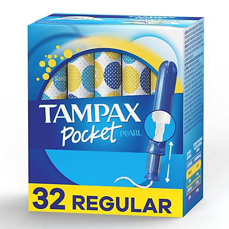 Tampax Pocket Pearl Tampons With LeakGuard Compact Regular Absorbency Unscented - 32 Count